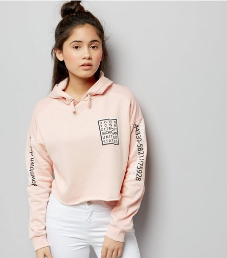 Teens Pink Mesh Panel Box Print Cropped Hoodie | New Look