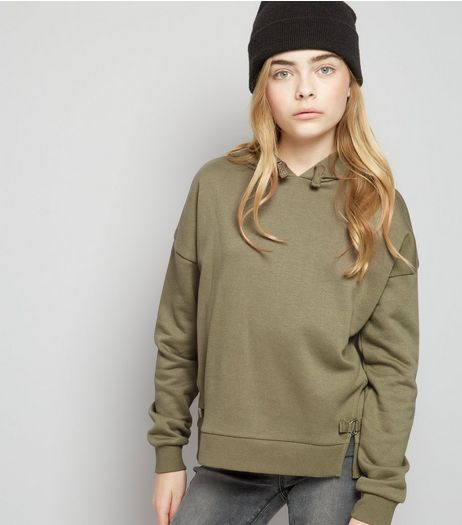 Teens Khaki D Ring Side Hoodie | New Look