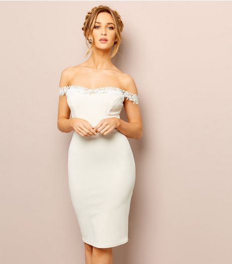 Shell Pink Lace Trim Bardot Neck Bodycon Dress | New Look