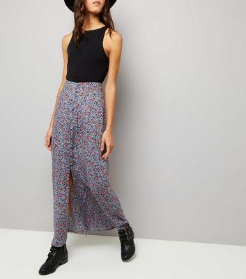Blue Ditsy Floral Print Split Front Maxi Skirt