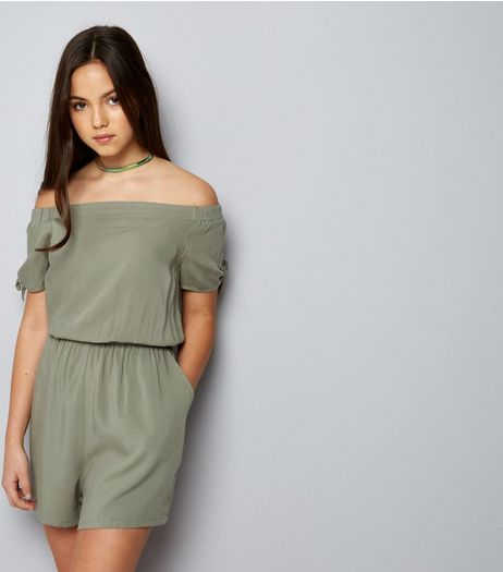 Teens Khaki Bardot Neck Tie Sleeve Playsuit | New Look