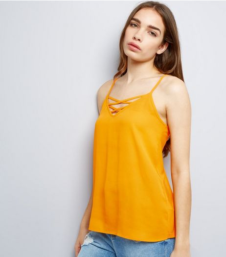 Bright Orange Lattice Front Woven Cami Top  | New Look