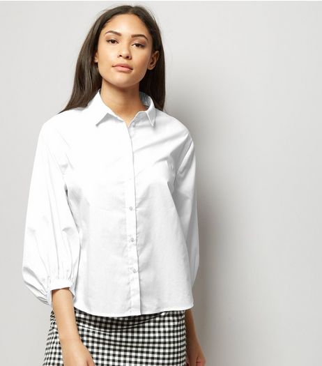 White Balloon Sleeve Shirt | New Look