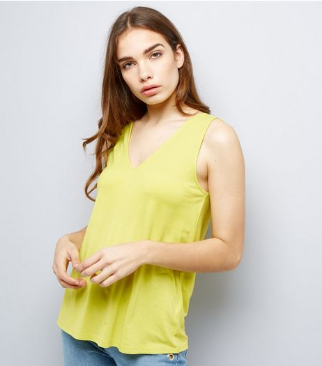 Green Ring Trim Strap Back Vest | New Look