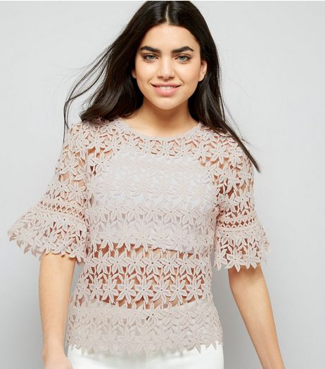 Pink Floral Lace Bell Sleeve Top | New Look