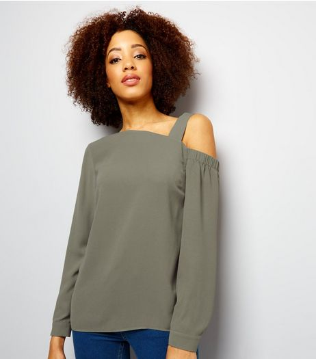 Khaki Off the Shoulder Top  | New Look