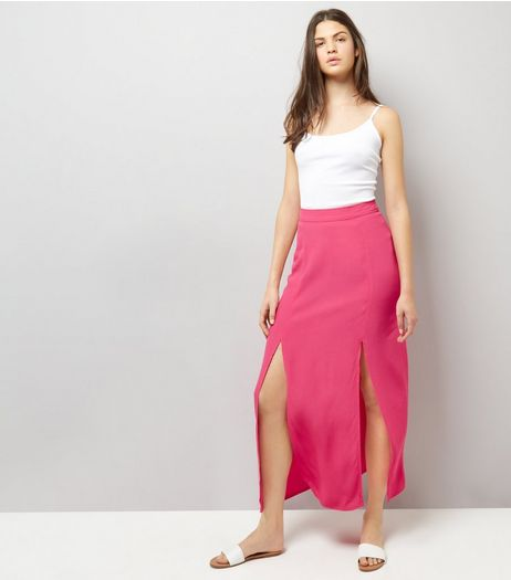 Bright Pink Split Side Maxi Skirt | New Look