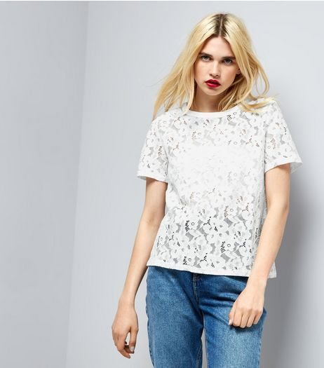 White Lace Short Sleeve Top  | New Look