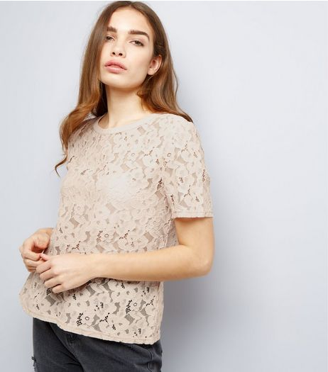 Shell Lace Short Sleeve Lattice Back Top  | New Look