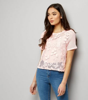 Pink Net Lace 3D Appliqué T-Shirt