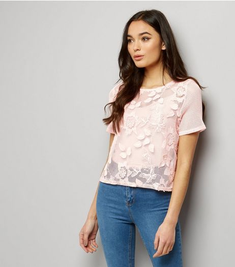 Pink Net Lace 3D Appliqué T-Shirt  | New Look