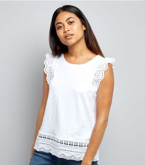 Petite White Cut Out Lace Trim Top | New Look