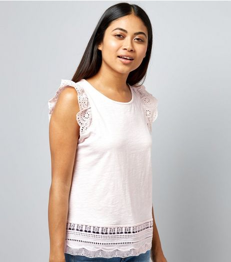 Petite Pink Cut Out Lace Trim Top | New Look