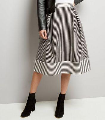 Black Contrast Stripe Jacquard Midi Skater Skirt