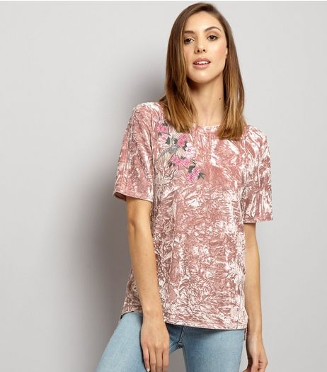 Pink Bird Embroidered Velvet T-Shirt  | New Look
