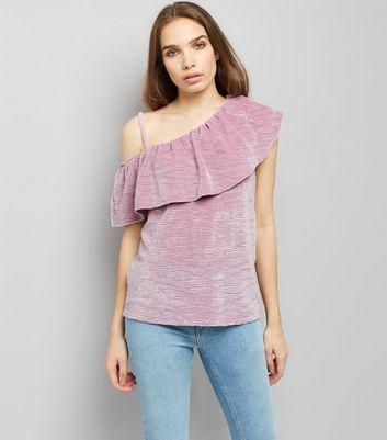 Lilac Velvet Off the Shoulder Top