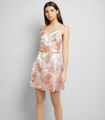 Shell Pink Floral Print Jacquard Textured Skirt