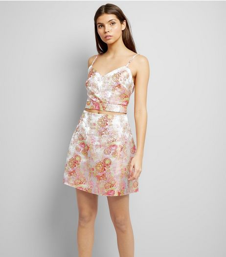 Shell Pink Floral Print Jacquard Textured Skirt  | New Look