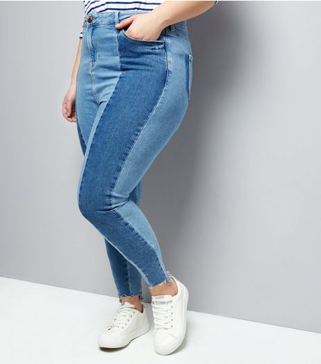 Curves Blue Two Tone Skinny Jeans | New Look