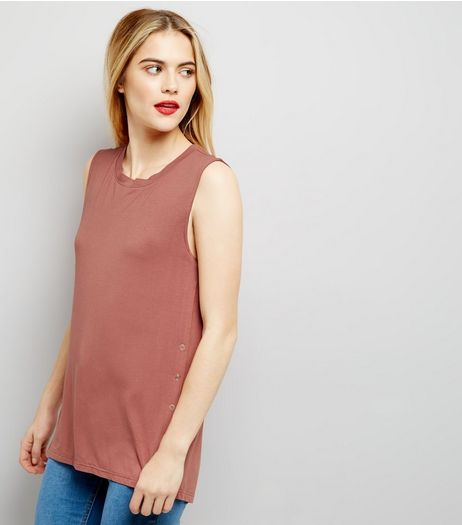 Deep Pink Popper Side Trim Vest  | New Look