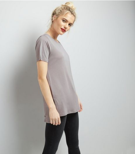 Grey Short Sleeve Step Hem Longline T-Shirt | New Look