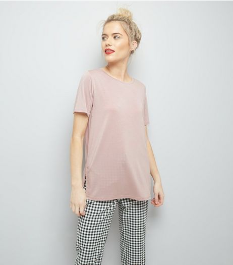 Pink Short Sleeve Step Hem Longline T-Shirt | New Look
