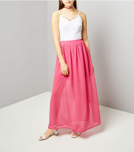 Teens Pink Chiffon Maxi Skirt | New Look