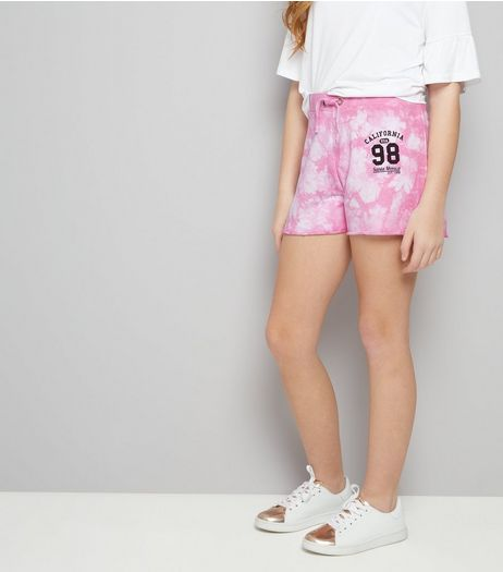 Teens Pink Tie Dye California 98 Print Shorts | New Look