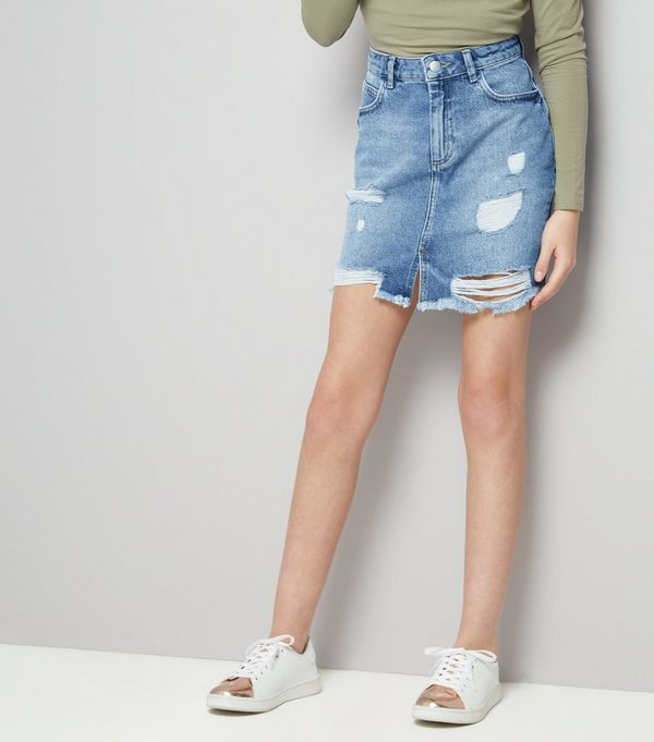 Teens Blue Ripped Denim Skirt