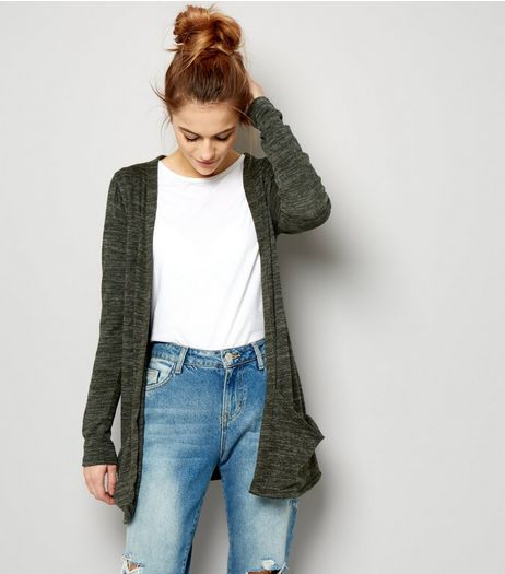 Khaki Brushed Fine Knit Double Pocket Cardigan | New Look