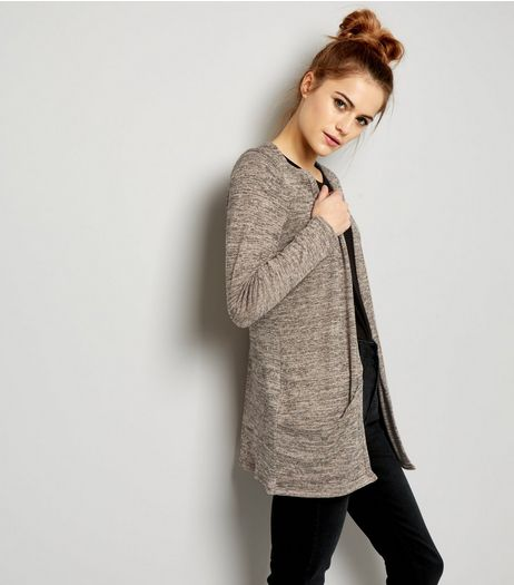 Shell Pink Brushed Fine Knit Double Pocket Cardigan | New Look