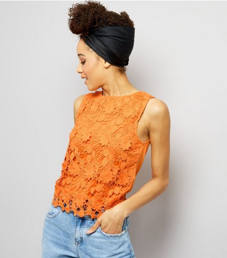 Bright Orange Lace Sleeveless Top  | New Look