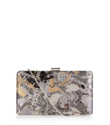 Grey Butterfly Jaquard Box Clutch | New Look