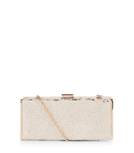 White Sequin Metal Trim Box Clutch | New Look
