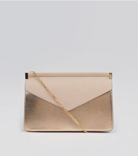 Rose Gold Chain Strap Clutch Bag | New Look