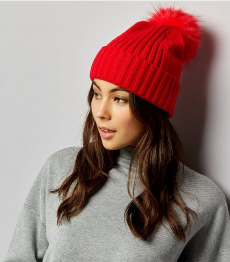 Red Faux Fur Pom Pom Hat | New Look