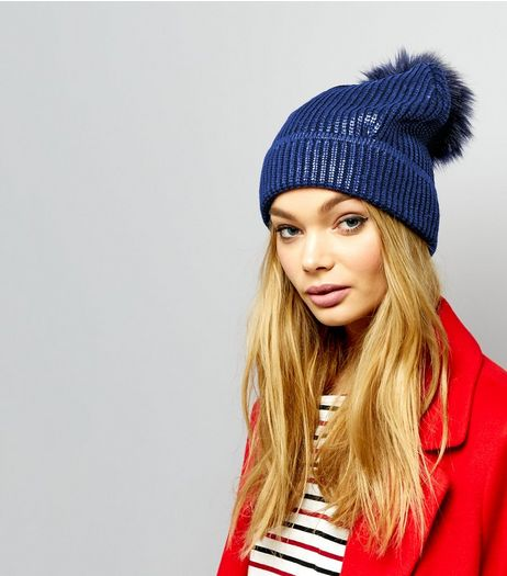 Blue Metallic Faux Fur Pom Pom Bobble Hat | New Look