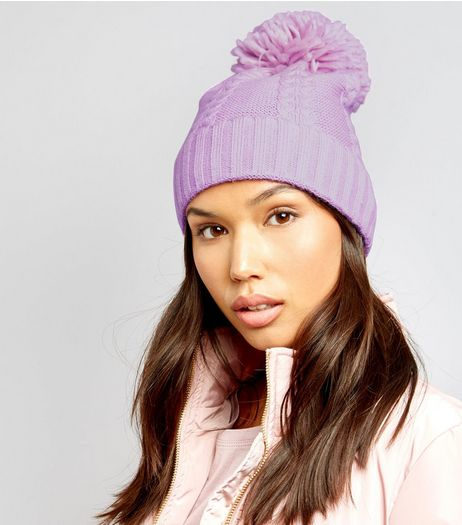 Pink Cable Knit Bobble Hat | New Look