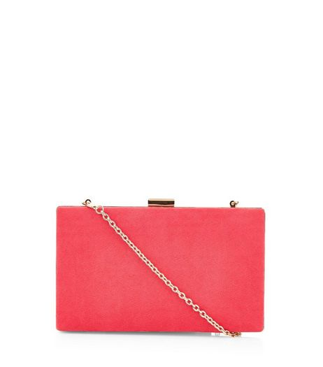 Bright Pink Suedette Box Clutch | New Look