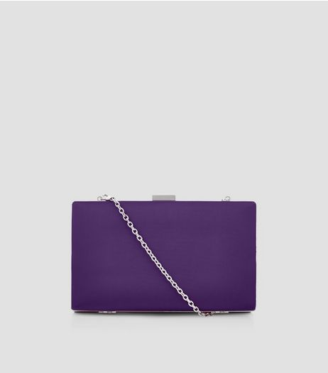 Purple Satin Box Clutch | New Look