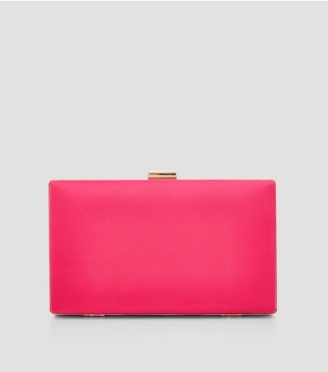 Pink Satin Box Clutch | New Look