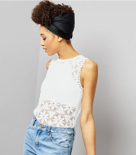 White Stud Trim Floral Lace Top | New Look