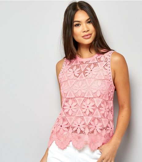 Pink Stud Trim Floral Lace Top | New Look