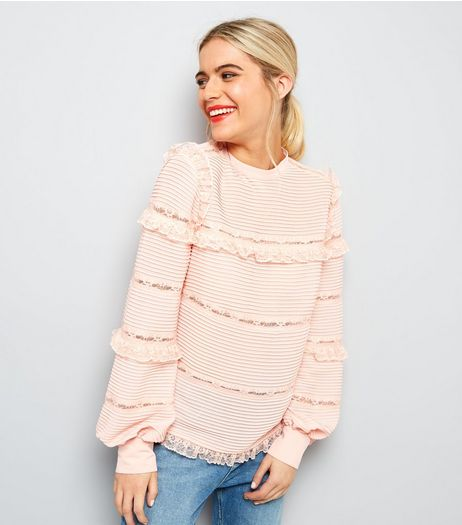 Shell Pink Frill Trim Blouse  | New Look