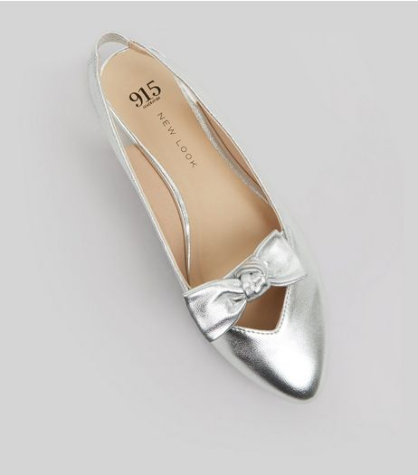 Teens Silver Bow Front Sling Backs | New Look