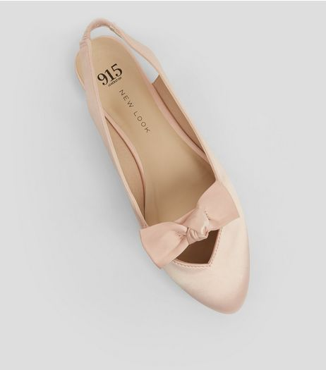 Teens Pink Sateen Bow Front Sling Backs | New Look