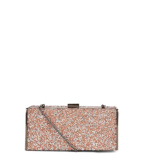 Pink Glitter Gem Box Clutch Bag  | New Look