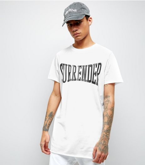 White Surrender Print Oversized T-Shirt | New Look