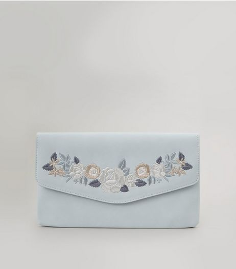 Grey Floral Embroidered Clutch | New Look