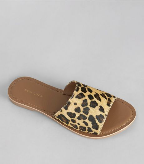 Stone Leopard Print Leather Mules | New Look